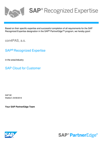 SAP® Recognized Expertise for SAP Cloud for Customer certificate